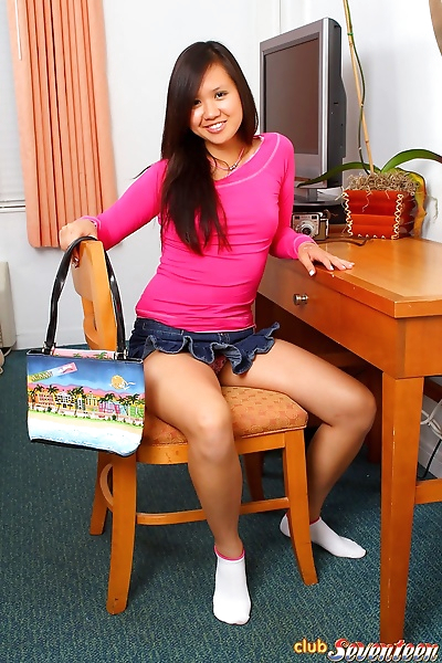 Young Asian girl fingers her..
