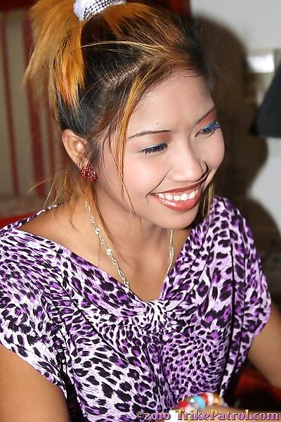 Beautiful Asian girl slips..