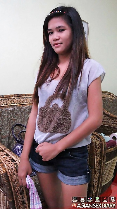Teen Asian Mildred drops her..