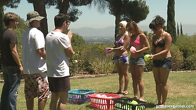 3 couples play group sex..