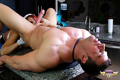 Older Asian maid Ava Devine does double vaginal sex with a cock and a sex toy
