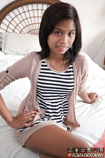 Slim Asian girl Jonalyn sports a camel toe upskirt before getting naked