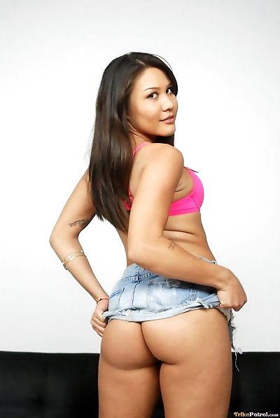 Amateur Filipina Mena Li reveals her big ass and rides a dick on a couch