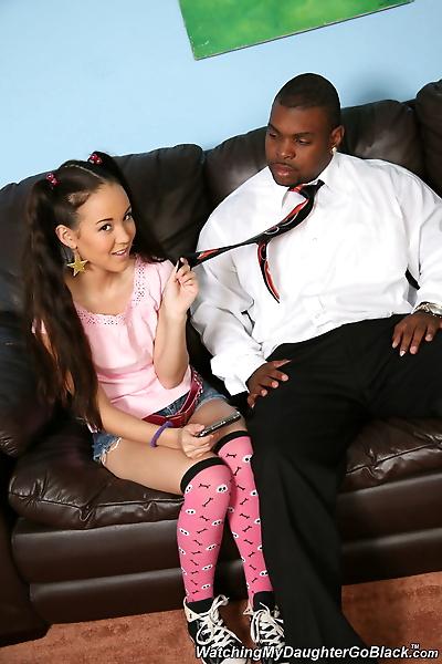 Tiny Asian girl Rico Strong- Amai Liu goes 1 on 1 with a big black dick
